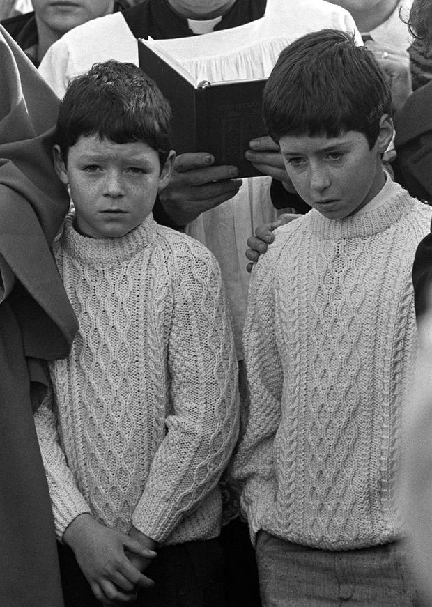 Dominic (11, right) and Declan (9, left) McGlinchey pictured at the funeral of their mother Mary in 1987.