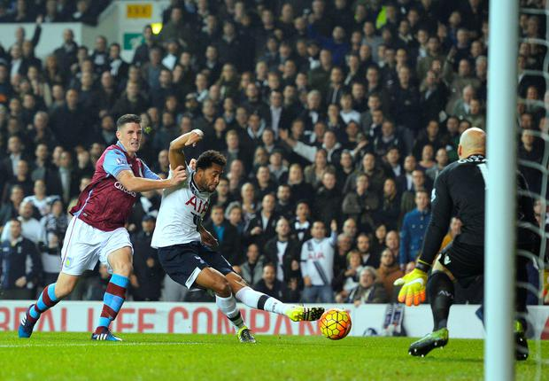 Mousa Dembele scores Spurs' first goal against Aston Villa