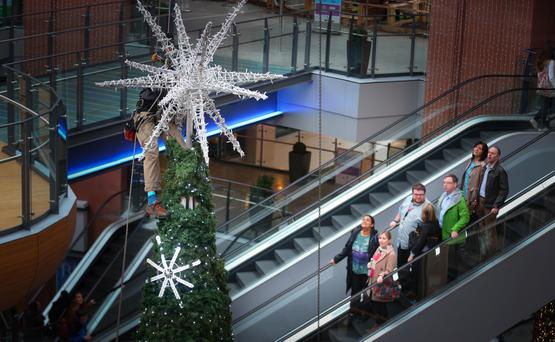 Belfast's Victoria Square shopping centre gets ready for Christmas. Pic Kevin Scott