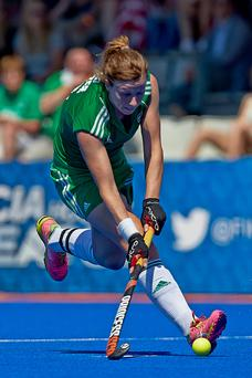 On target: Ireland's Megan Frazer scored a fine goal
