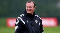 Fine form: Michael O'Neill has plenty to smile about