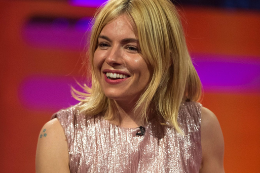 Sienna Miller during filming of the Graham Norton Show at the London Studios, south London.