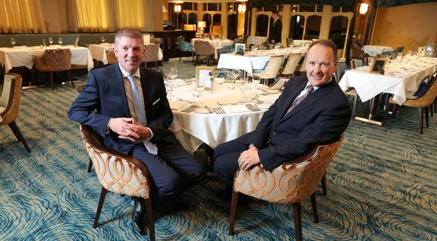 Howard Hastings and Adrian McNally, General Manager of the Culloden Estate and Spa as the 5-star hotel unveils its recent refurbishment which was in excess of £1,000,000.