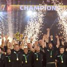 Sparks fly: Party time for the All Blacks after their World Cup victory