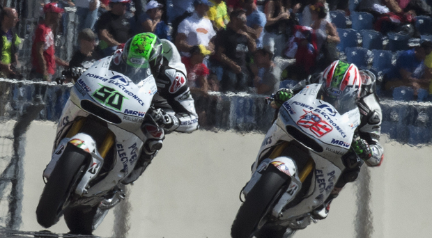 Last lap: Eugene Laverty and his Aspar MotoGP team-mate Nicky Hayden will hope for a final hurrah this weekend