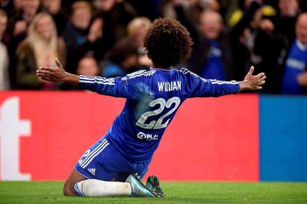 Chelsea's Willian celebrates scoring his side's second goal of the game during the UEFA Champions League match at Stamford Bridge, London. PRESS ASSOCIATION Photo. Picture date: Wednesday November 4, 2015. See PA story SOCCER Chelsea. Photo credit should read: Andrew Matthews/PA Wire