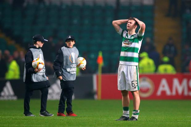 GLASGOW, SCOTLAND - NOVEMBER 05: Kieran Tierney of Celtic reacts following his team's 2-1 defeat during the UEFA Europa League Group A match between Celtic FC and Molde FK at Celtic Park on November 5, 2015 in Glasgow, United Kingdom. (Photo by Ian MacNicol/Getty Images)