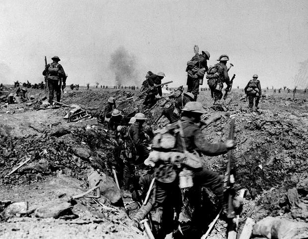 Front line: troops during the Battle of the Somme, 1916