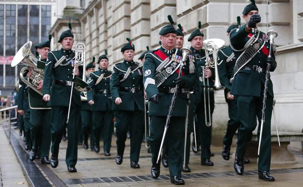 Remembrance Sunday wreath laying at the Cenotaph in the grounds of Belfast City Hall. (Photo by Kevin Scott / Presseye)
