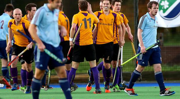 Final route: Instonians celebrate James Dowling's goal