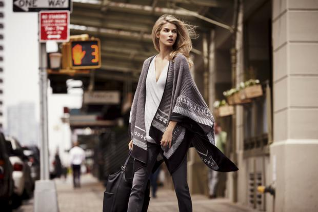 Cape, £95, top, £35, jeans, £55, bag, £115, all from Linea at House of Fraser