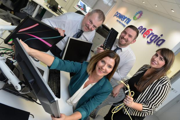 Viridian Group, independent energy provider in the all-Ireland market, is creating 35 new IT jobs. Pictured are: (sitting) Orlaith Murtagh, Business Analyst; (l-r) Paul Comins, Project Manager; Sean McCrea, Technical Lead and; Orlaith Murtagh, Business Analyst. Photo by Aaron McCracken/Harrisons