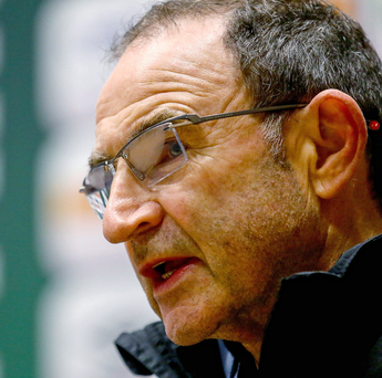 Raring to to: Republic of Ireland boss Martin O'Neill addresses the media yesterday