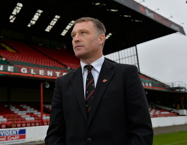 New surroundings: Alan Kernaghan has a look around The Oval after being unveiled as new Glentoran manager