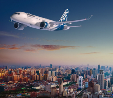 An artist's impression of the CSeries flying over Shanghai