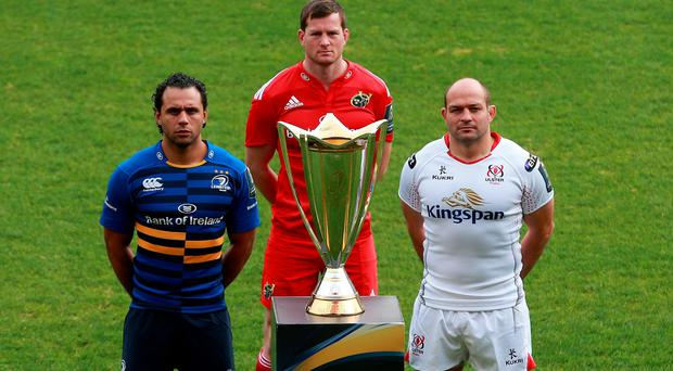 Prize guys: Leinster's Isa Nacewa, Munster's Denis Hurley and Ulster's Rory Best get a close-up look at the Champions Cup