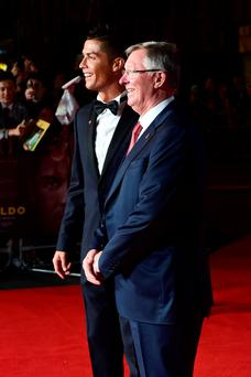Cristiano Ronaldo and Sir Alex Ferguson attending the world premiere of Ronaldo at Vue West End Cinema in Leicester Square, London. PRESS ASSOCIATION Photo. Picture date: Monday 9th November, 2015. Photo credit should read: Ian West/PA Wire