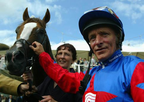 Racing giant: Pat Eddery after winning on Reel Buddy at Glorious Goodwood in 2003