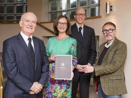 From left to right is Former MP and Honorary President of the MAPPG, Chris Ruane (left), AWARE Chief Executive, Siobhan Doherty, Director of the Mindfulness Initiative Jamie Bristow and AWARE's Mindfulness practitioner Frank Liddy (far right)