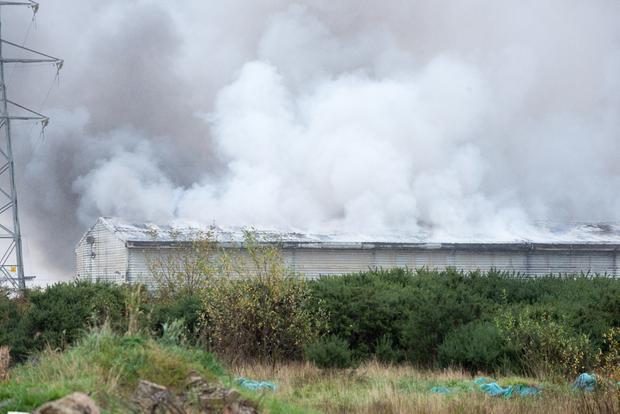 The scene of the fire at the Brickkiln recycling plant outside Derry. Picture Martin McKeown.