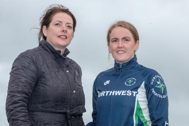 Carmel Lynch (left) from the North West Triathlon Club and Catherine Curran. Photo: Martin McKeown