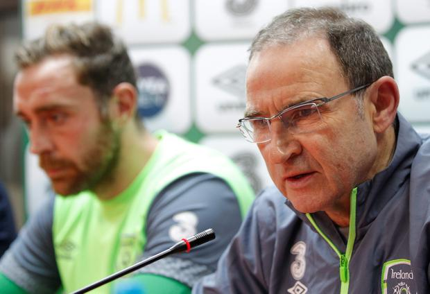 Head coach Martin O'Neill (R) and Richard Keogh (R) of Ireland speak during the press conference for EURO 2016 Qualifier Play-Off First Leg at Bilino Polje Stadium on November 12, 2015 in Zenica, Bosnia and Herzegovina. (Photo by Srdjan Stevanovic/Getty Images)