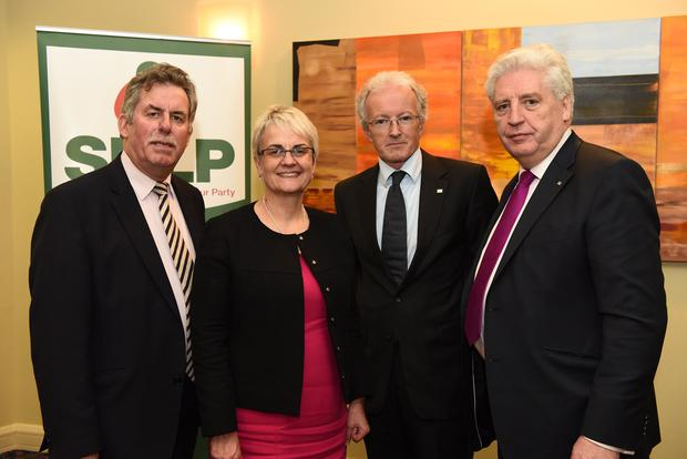 Alban Magennis, Margaret Ritchie, Michael O'Reilly (Irish Government 1916-2016 Commemoration Commission) and Alasdair McDonell at the SDLP conference 2015 at the Armagh City Hotel. Picture by Carrie Davenport / SDLP / Press Eye.