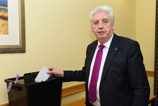 Alasdair McDonnell placing his vote at the SDLP 2015 Conference at the Armagh City Hotel. Picture by Carrie Davenport / SDLP / Press Eye.