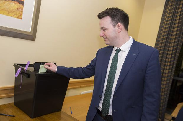 Colum Eastwood placing his vote at the SDLP conference 2015 at the Armagh City Hotel. Picture by Carrie Davenport / SDLP / Press Eye.