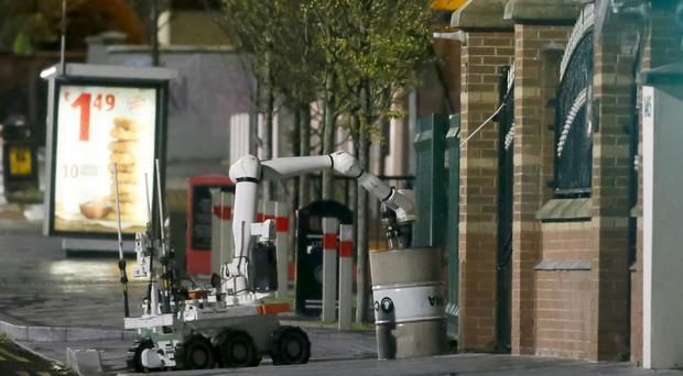 Police and ATO at the scene of a security alert in which a barrel was placed outside Connolly House in Belfast. Pic: Kevin Scott.