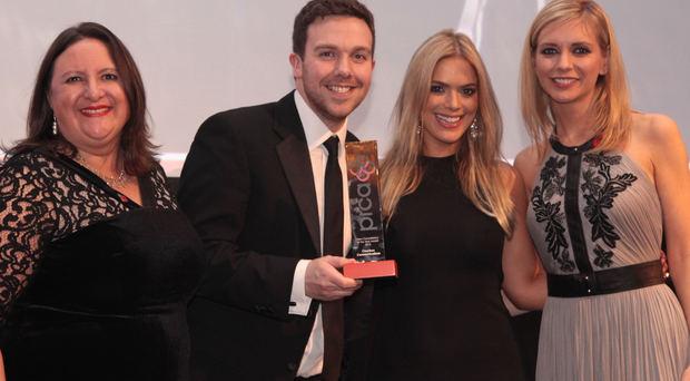 Pictured at the PRCA awards are (l-r) Precise Client Director and category Sponsor Penny Anderson, John Megaughin and Anna Morris from Clearbox and TV presenter Rachel Riley.