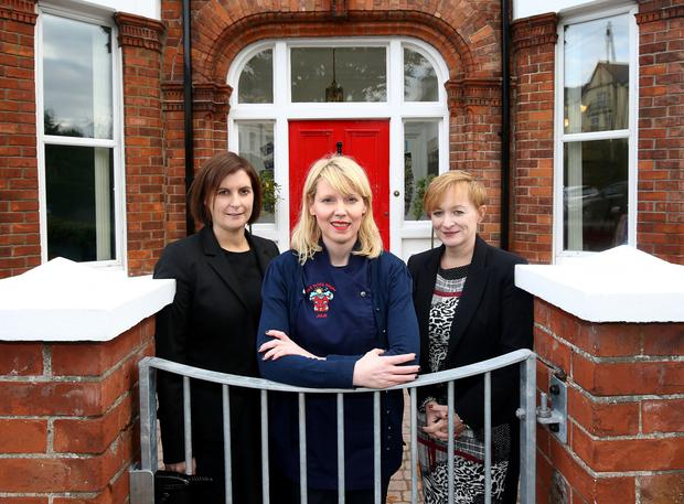 Julie Morrison (centre) of the Red Brick House at the new nursery in Bangor. She is with Jayne Foote (left) and Tracey Morrow of Ulster Bank.