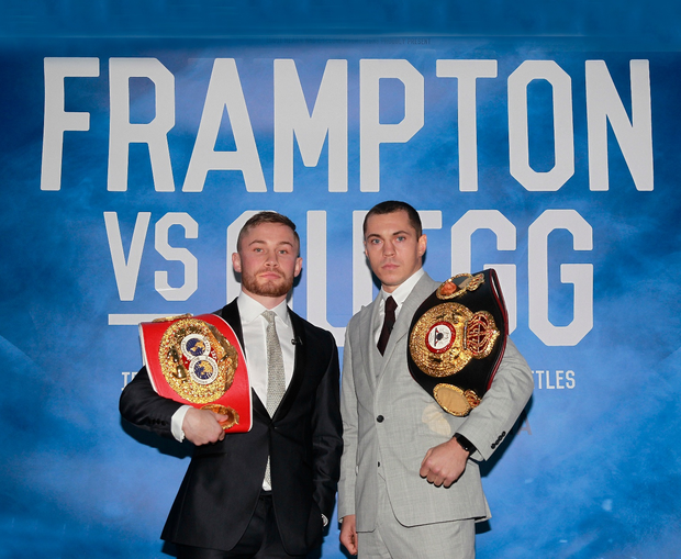 Ring rivals: Carl Frampton (left) and Scott Quigg square up at a press conference to promote their fight