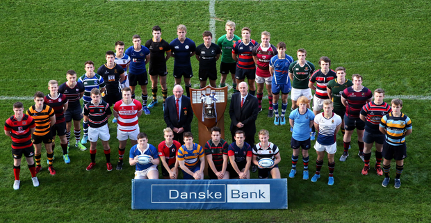 Captains' call: This season's Danske Bank Ulster Schools' Cup was launched at Kingspan Stadium by the participating captains. Included are Ivan McMinn, head of business acquisition at Danske Bank, and Bobby Stewart, president of IRFU (Ulster branch), who conducted the draws