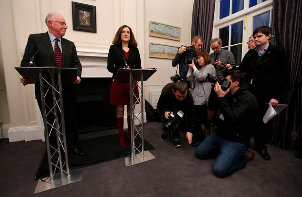 Northern Ireland Secretary Theresa Villiers and Irish Minister for Foreign Affairs Charlie Flanagan hold a press conference at Stormont House in Belfast. PA