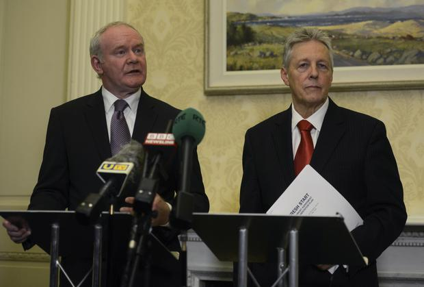 First Minister Peter Robinson and Deputy First Minister Martin McGuinness at Stormont Castle. Photo Colm Lenaghan/Pacemaker Press