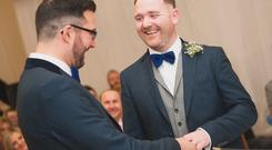 Co Antrim couple Tony (right) and Darren Day on their wedding day. Photo: Colin Maxwell