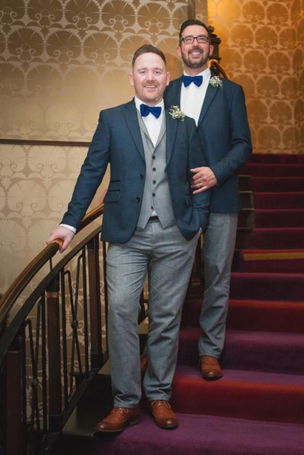 Co Antrim couple Tony (left) and Darren Day on their wedding day. Photo: Colin Maxwell