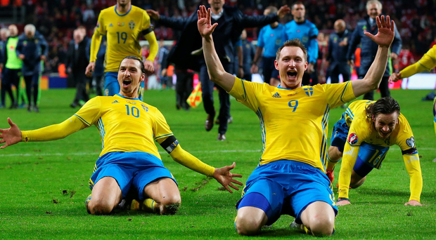 Swede dreams: Zlatan Ibrahimovic, left, and Kim Kallstrom of Sweden celebrate their play-off win over Denmark