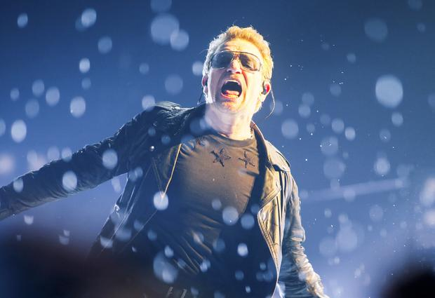U2 perform at Belfast's SSE Arena for the first time in almost a decade. Its also their first concert since cancelling their Paris gig following the tragic events that have unfolded , Northern Ireland on November 18 (Photo by Kevin Scott )