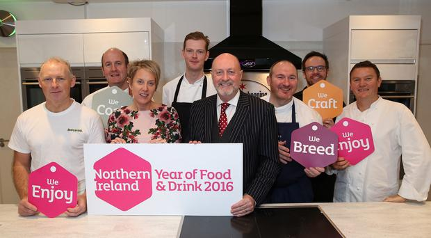 Attending the launch of Northern Ireland's Year of Food and Drink 2016, organised by Tourism Ireland in London (front row, l-r) Mark Douglas, (the Krazi Baker); Kathryn Thomson, Tourism NI; David Boyce, Tourism Ireland; Niall McKenna, James Street South, Belfast; Theo Randall, InterContinental London Park Lane; (back row, l-r) Derek Creagh, Harry's Shack, Portstewart; Will Brown, The Old Schoolhouse, Comber and James Huey, Walled City Brewery, Londonderry