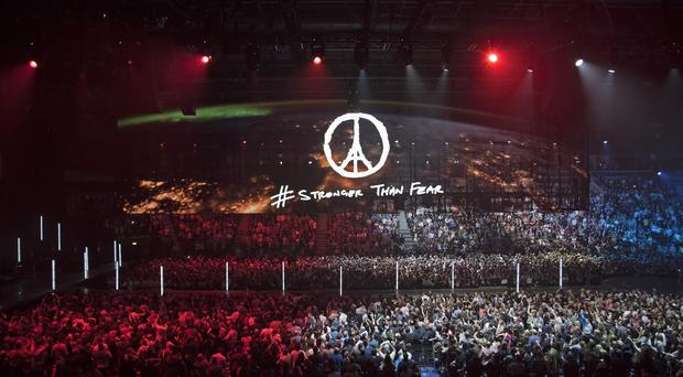 U2 pays tribute to Paris at one of their Belfast shows #StrongerThanFear Photo: Ross Stewart