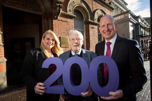 Neighbourhood support officer Janet Magee, Bryson Care service user Jim Dick, 91, from Belfast and David Torrens, chairman of Bryson Care, during the launch of social enterprise, the Bryson Charitable Group's, new One2One service for older people, which is to create 200 jobs across Northern Ireland. PA