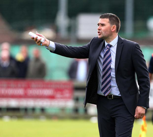 @Press Eye Ltd Northern Ireland- 17th October 2015 Mandatory Credit -Brian Little/Presseye Linfield manager David Healy against Warrenpoint Town during Saturday's Danske Bank Premiership match at Milltown. Picture by Brian Little/Presseye
