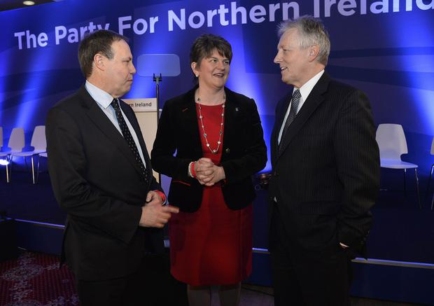 Nigel Dodds, Arlene Foster and party leader Peter Robinson pictured at the annual DUP conference at The La Mon House hotel in Castlereagh . Photograph-Stephen Hamilton/ Presseye