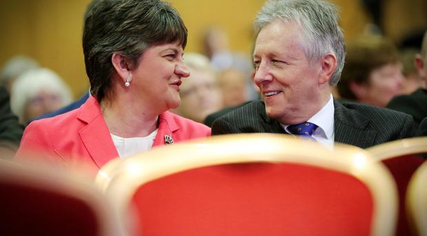 DUP annual conference at the La Mon House Hotel. Party Leader Peter Robinson at the conference with Arlene Foster. Picture by Kelvin Boyes / Press Eye.