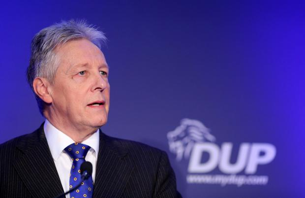 Peter Robinson gives his last speech at the annual DUP conference, at the La Mon House Hotel in Castlereagh Picture by Kelvin Boyes / Press Eye