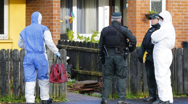 Police and ATO at the scene of a security alert in the Broom Close area of west Belfast following the search of a property. (Photo by Kevin Scott / Presseye)