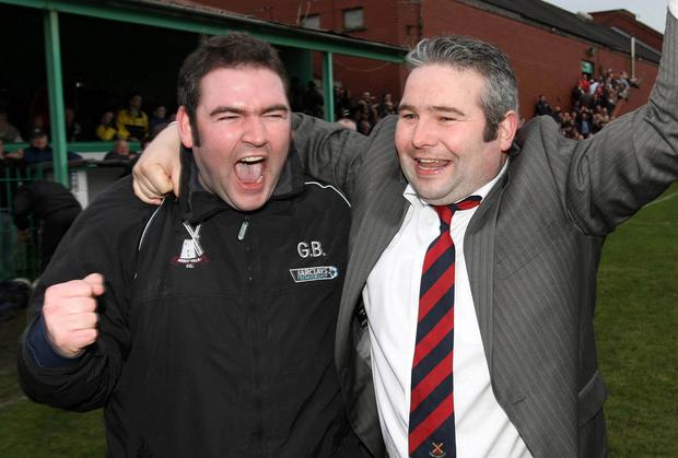 Mark Bailie (right) celebrates winning the 2007 Border Cup with brother and fellow Abbey Villa manager Graham