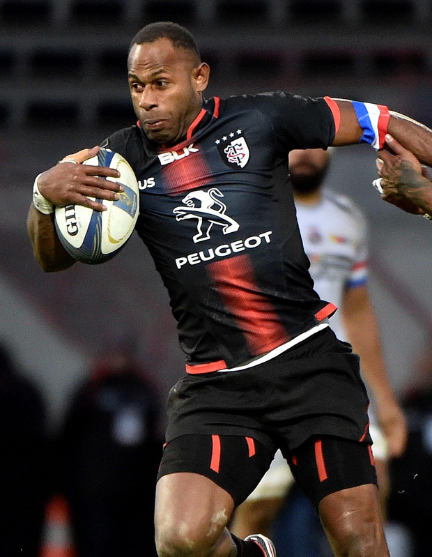 On the ball: Timoci Matanavou went over for Toulouse